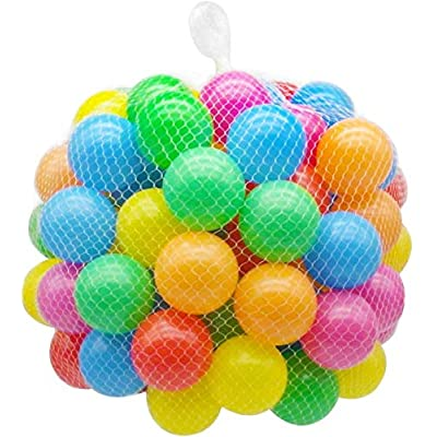 Ball Pit Balls,New Practical multicolor marine ball Quality Secure Baby Kid Pit Toy Swim Fun Colorful Soft Plastic Ocean Ball (Color mixing, Pack of 100): Kitchen & Dining