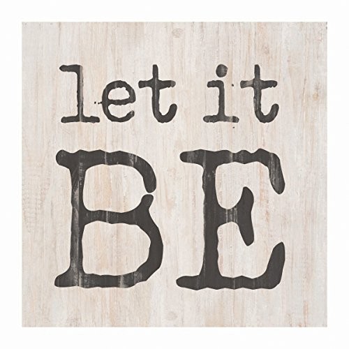 P Graham Dunn Let it Be Whitewash 3.5 x 3.5 Inch Pine Wood Tabletop Block Sign by P Graham Dunn