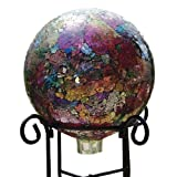 Bird Brain Sequin Glass Gazing Ball, Green - Purple