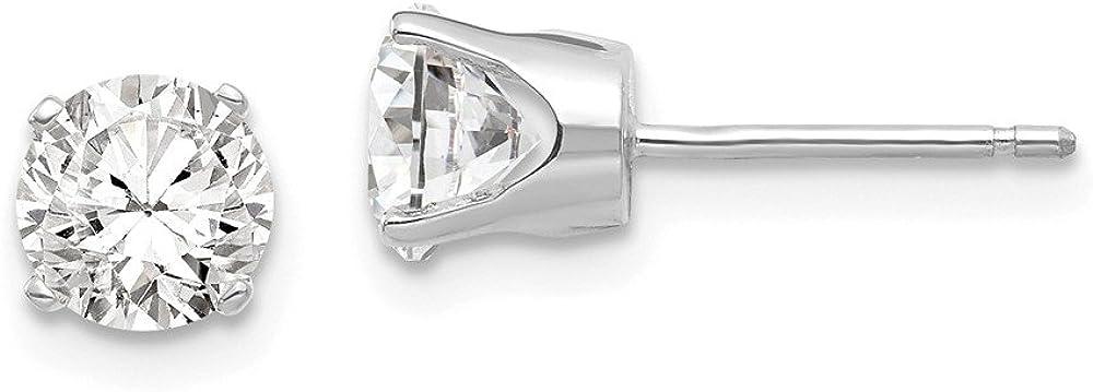 14k White Gold 5.5mm CZ stud earrings