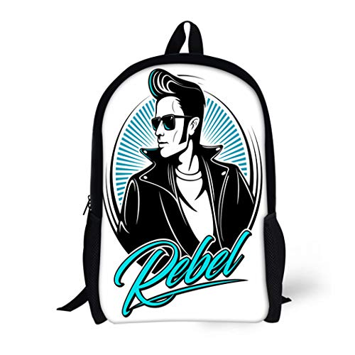 (Pinbeam Backpack Travel Daypack Man Rockabilly Rebel in Jacket Fifties Hairstyle Waterproof School)