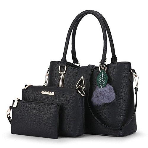 minimaliste épaule PU sac Cuir Messenger en Noir Mme peluche décor Bleu xTqU8wIw