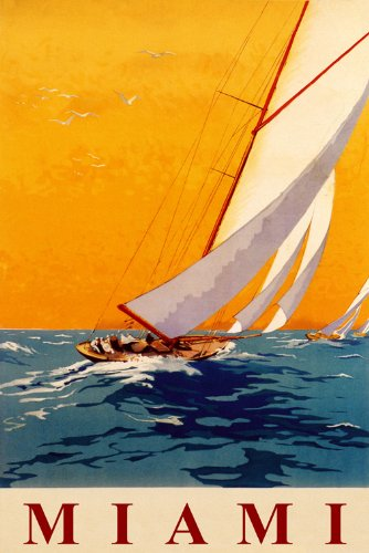 Miami Sailboat Sailing Nautical Sport Sail Ocean Wind Vintage Poster Repro