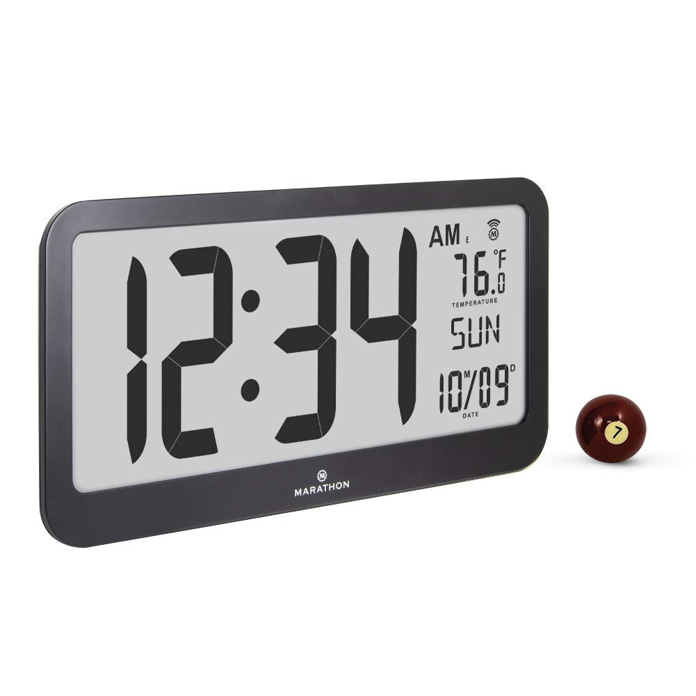 Marathon CL030033JUMBO Slim Jumbo Panoramic Atomic Wall Clock with Date and Indoor Temperature. Commercial Grade with Big 6-Inch Numbers, Alarm and Table Stand. Batteries Included Black