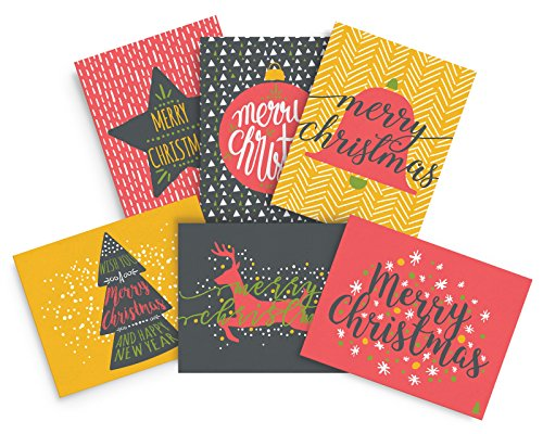 Merry Christmas Greeting Cards; Fun, And Colorful Happy Holiday Cards, 24 Xmas Cards & Envelopes (Christmas Printing Cards)