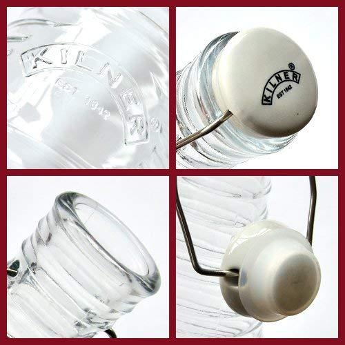 Kilner Ribbed Water Bottle Transparent 28-Fluid Ounce Capacity