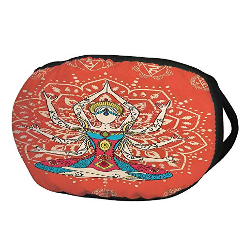 Fashion Cotton Antidust Face Mouth Mask,Yoga Decor,Yoga Technique with Ethnic Costume Insignia Zen Discipline Your Body and Mind Artprint,Cream Red Teal,for women & (Female Insignia Ring)
