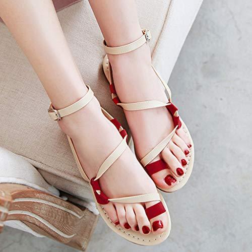 Amérique Sandale Mariage Plate Plage Sandales Porter Rouge Coeur Partie Femmes Clip Mode Toe Sandale Boucle Cheville Été Panpany Et Europe Vacances ❤femmes pxvCwqn5Uq