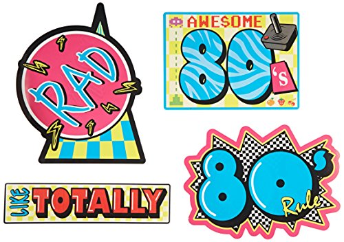 Beistle 54340 4-Pack Awesome 80's Cutouts, 16-Inch (80's Theme)