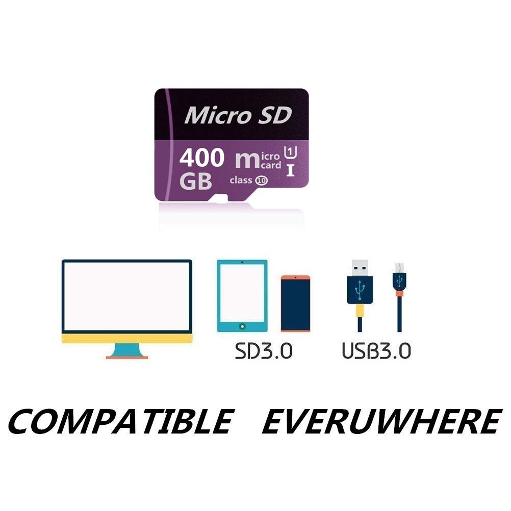 Micro SD Card 400GB High Speed Class 10 Memory Micro SD SDXC Card with Adapter