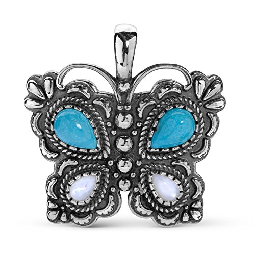 American West Sterling Silver Blue Turquoise and White Mother of Pearl Gemstone Butterfly Pendant Enhancer ()