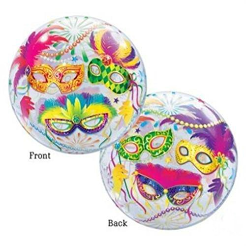 Mardi Gras Masks 22-inch Bubble Balloon