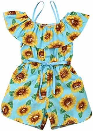 92771f1aef Summer 3Pcs Toddler Kids Baby Girls Off Shoulder Ruffle Crop Tops Sunflower  Printed Shorts Dress Headband