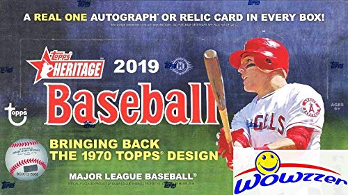 2019 Topps Heritage Baseball HUGE Factory Sealed 24 Pack HOBBY Box with AUTOGRAPH or MEMORABLIA Card & EXCLUSIVE BOX LOADER! Look for Real One Autographs, Relics, Parallels, Inserts & More! WOWZZER! ()