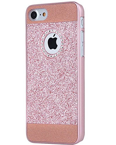 iPhone 7 Case, Moleboxes iPhone 7 Shinning Protective Hybrid Bumper Crystal Rhinestone Sparkle Bling Glitter Hard Diamond Case Cover Shell for 4.7 inches Apple iPhone 7 (Rose - Rhinestones Cover