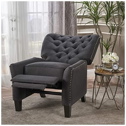Farmhouse Accent Chairs Christopher Knight Home Cerelia Tufted Fabric Recliner, Dark Charcoal / Dark Brown farmhouse accent chairs