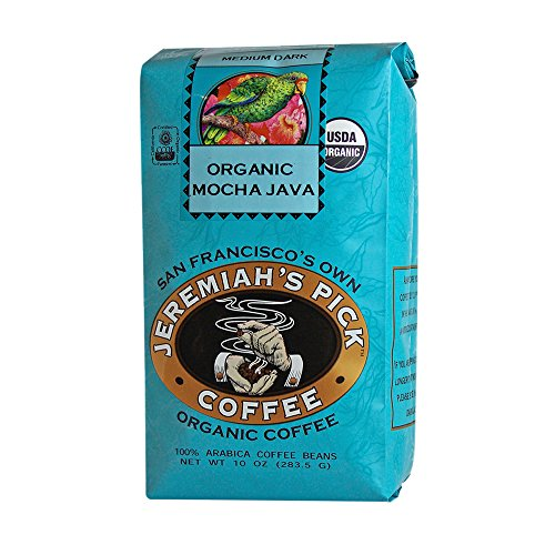Jeremiah's Pick Coffee Organic Mocha Java, Dark Roast Whole Bean Coffee, 10-Ounce Bags (Pack of 3)