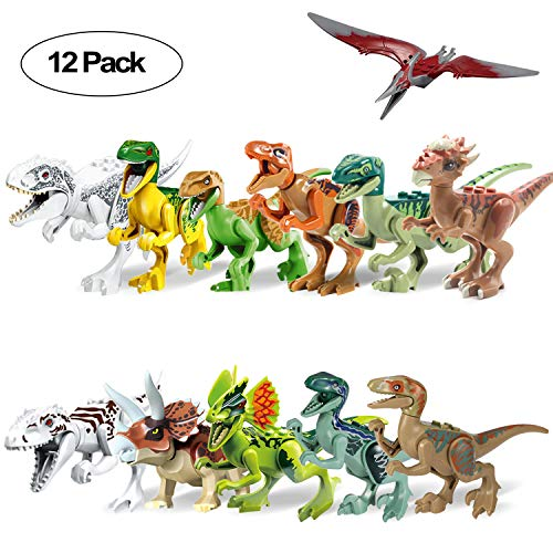 Head Figure Set - Dinosaur Building Blocks 12PCS Movable Head Mouth and Hands Dinosaur Play Figure Toys Sets with Non-Toxic Safe for Child