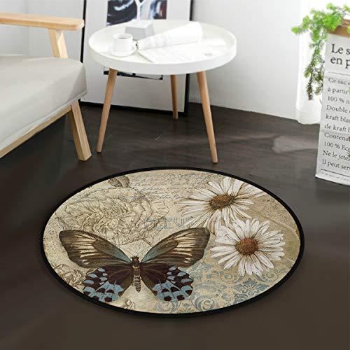 Vintage Butterfly Round Area Rug, Non-Slip Carpet Floor Mats for Indoor Outdoor Front Door Bathroom Home Decor, 3 Feet