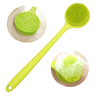 Arswin Silicone Back Scrubber, Long Handle Soft Silicone Back Brush Bath Brush, Silicone Shower Brush Wet or Dry for Healthy Skin Care for Men & Women Bathroom Shower Accessories, 14.8  x 3.3  (Green)