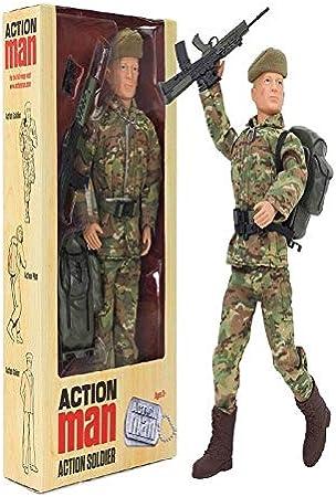 Vestido en uniforme retro.,Action Man cuenta con las manos de agarre.,Figura incluye 8 puntos de art