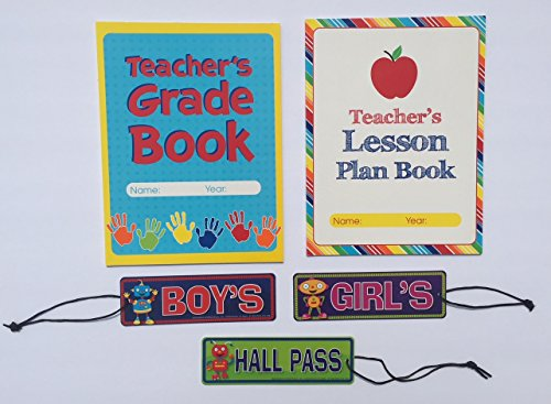 Teacher Grade Lesson Plan Book Teaching School Planner Student Hall Passes Classroom Homeschool Supplies Gifts 5 Piece Set … (School Hall Passes)