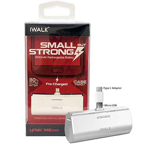 Official iWalk 3000mAh Link ME Battery Pack White- with Micro & TYPE C Adapter For Galaxy S6,S7,Edge,Note 5, S8,Note8,+,Pixel,XL,G5,G6 (Retail Packing)