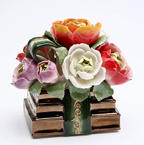 (Cosmos Gifts Fine Porcelain Books with Bouquet of Flowers Magnolia, Peony and Roses Musical Music Box Figurine (Tune: Memory), 4-1/8