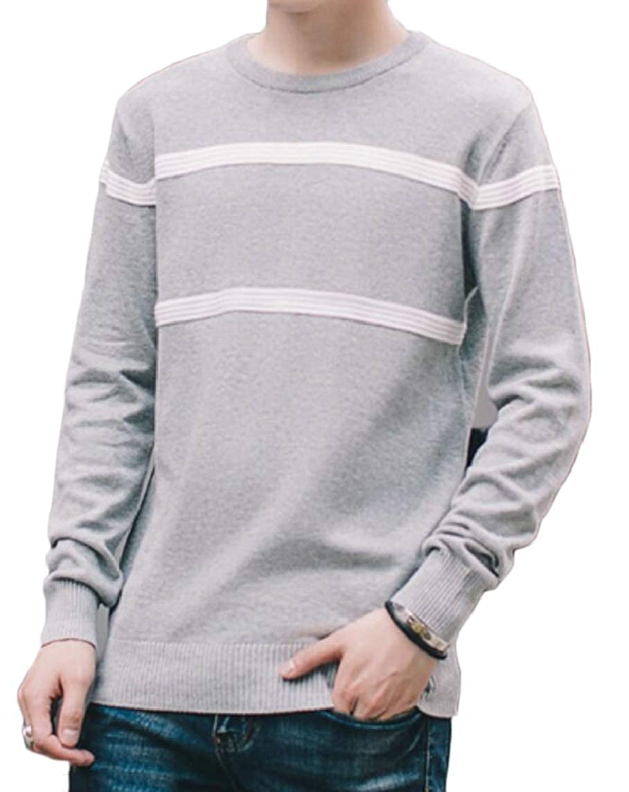 Yayu Mens Round Neck Slim Fit Knitted Stripe Knitwear Leisure Pullover Sweaters