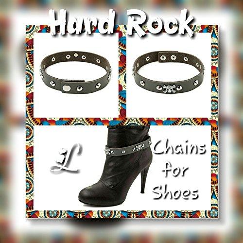La Loria 2 Stiefelketten Hard Rock Stiefelbänder aus Echtleder Schuhschmuck Grau