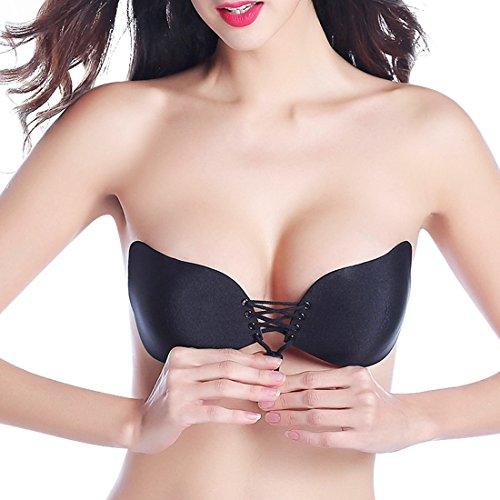 Mannice Reusable Strapless Self Adhesive Silicone Invisible Push-up Bra For Women (Cup C(38B,36B,32C,34C), Black Type 2)