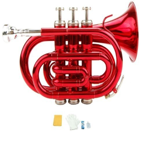 Merano B Flat Red Pocket Trumpet with Case+Mouth Piece;Valve oil;A Pair Of Gloves;Soft Cleaning Cloth