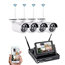 Wireless Security System, LESHP 4CH WIFI NVR with 7 Monitor Wireless Security System with 4 960P Camera
