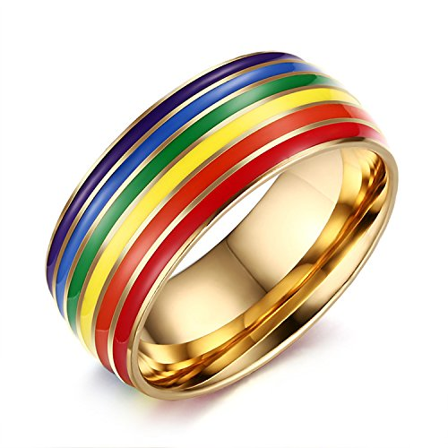 - Nanafast 8mm Stainless Steel Enamel Rainbow LGBT Pride Ring for Lesbian & Gay Wedding Engagement Band Gold Size 7