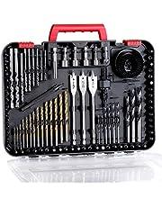 Avid Power Drill Bit Set, Drill Bits for Metal, Wood, Masonry-100Pcs Titanium, High Speed Steel Drill Bit Screwdriver Bit Set With Storage Case