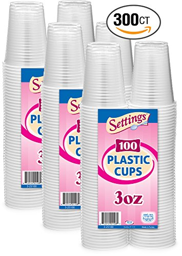 Setting 3 Oz. Disposable Plastic Cups (100 Ct) Pack of 3 300 Cups Total