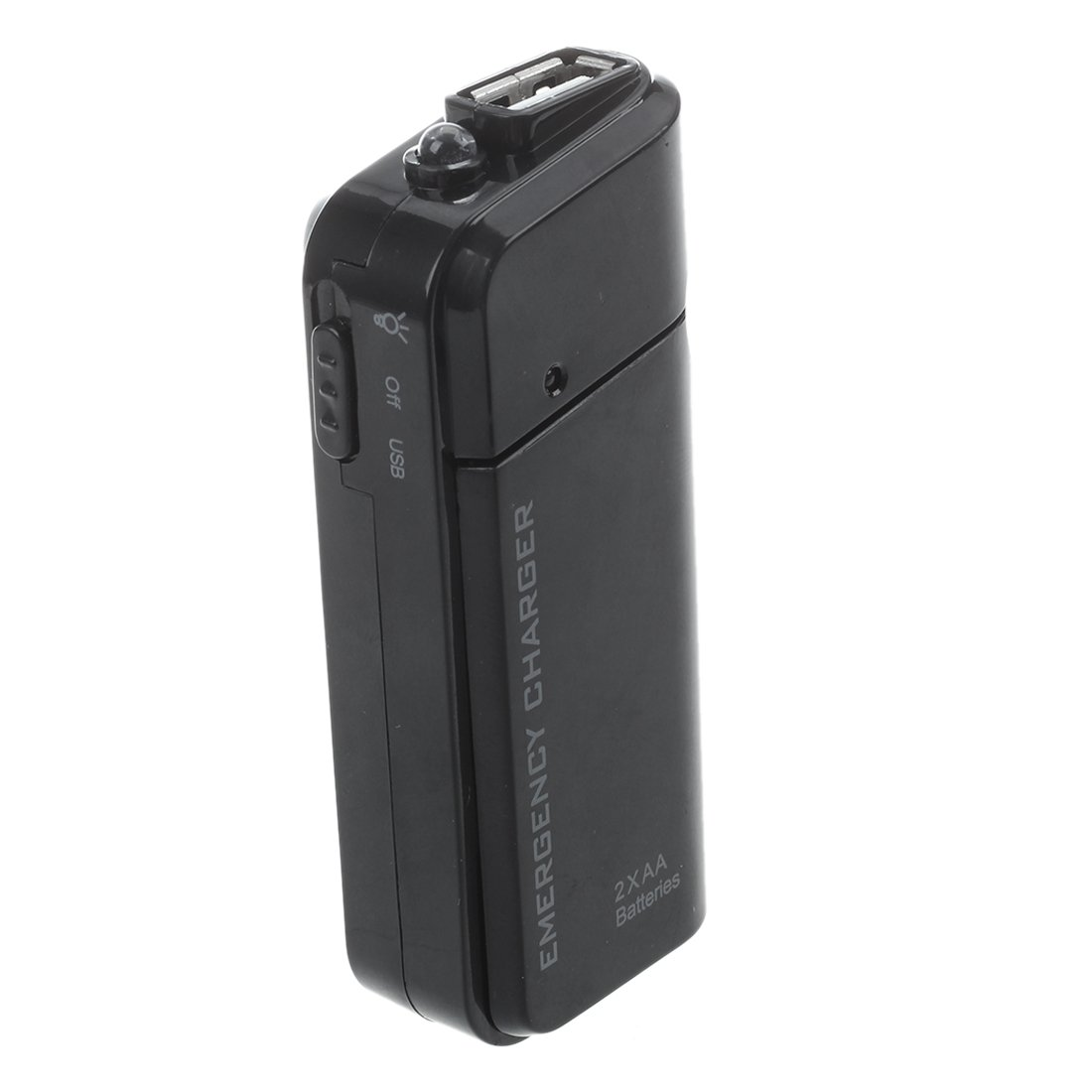SODIAL(R) Portable USB Emergency AA Battery Powered Charger With Flashlight for Cellphone iPhone iPod MP3/MP4 player Black by SODIAL (Image #4)