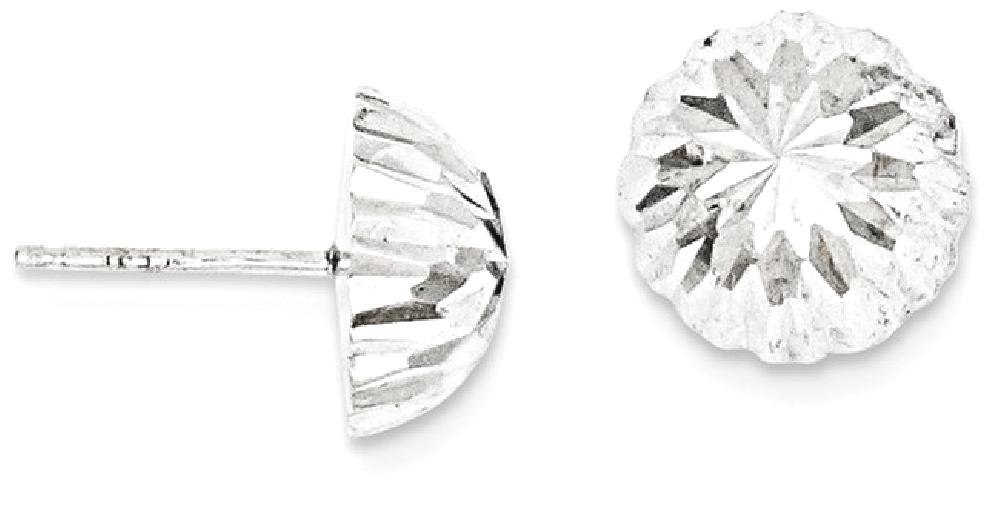 ICE CARATS 14k White Gold Half Ball Post Stud Button Earrings Fine Jewelry Gift Set For Women Heart