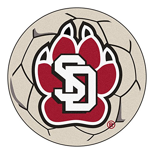 Dakota Soccer Ball Rug - NCAA University of South Dakota Coyotes Soccer Ball Mat Round Area Rug