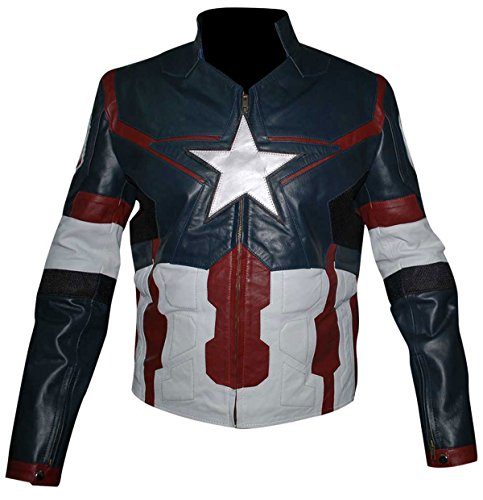 Mens Captain America Avengers Age of Ultron Leather Costume Jacket
