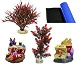 Blue Ribbon 4-Piece Aquarium Ornament Decoration Assortment, Kids Fast Food Fun Theme