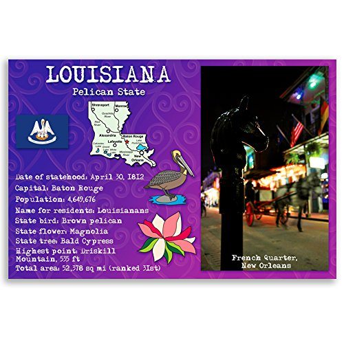 - LOUISIANA STATE FACTS postcard set of 20 identical postcards. Post cards with LA facts and state symbols. Made in USA.