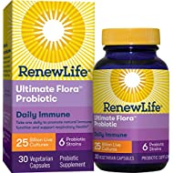 Renew Life Adult Probiotic - Ultimate Flora Daily Immune Probiotic Supplement - Gluten, Dairy & Soy Free - 25 Billion CFU - 30 Vegetarian Capsules (Pack May Very) (Package May Vary)