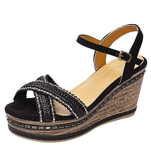 ◕‿◕Watere◕‿◕ Women's High Wedge Side Strap Criss Cross Strap Thick Peep Toe Beach Sandals Rome Buckle Strap Wedges Shoes - Hook Robe Soho