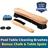 BETTERLINE Billiard Table and Rail Cleaning Brushes with Bonus Cue Chalk Cubes and Pool Table Spot Dot Stickers