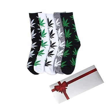 4a52e74ec70 TTD 5 packs de mauvaises herbes uniSexe feuille de coton imprimé chaussettes  feuille d érable