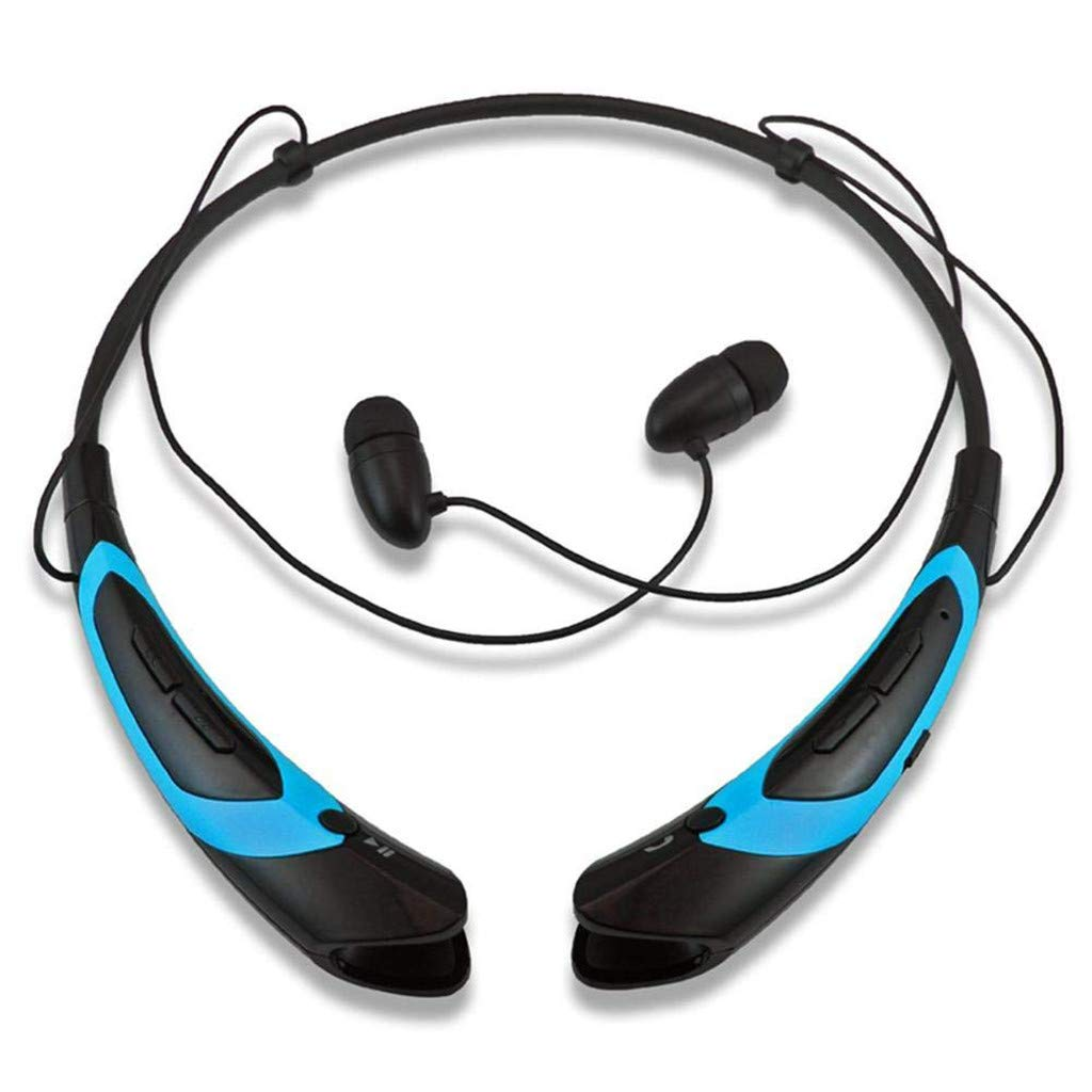 HCDjgh Bluetooth Earphones with Microphone Beats, Hanging Neck Sports Metal Ear Shell Super On-Ear Headphones ♫(Blue)