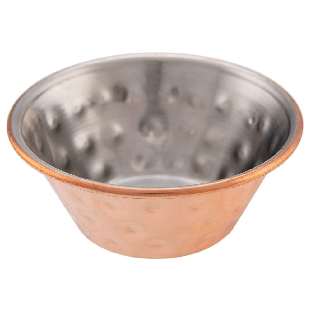TableTop King 1.5 oz. Hammered Copper-Plated Stainless Steel Round Sauce Cup - 12/Pack