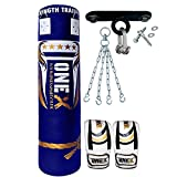 Onex 9 Pieces Heavy Filled Boxing Set 5FT Punch Bag Gloves Ceiling Hook Chain MMA Punching Training...