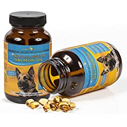 Premium Wild Alaskan Salmon Oil for Dogs and Cats | All-Natural Omega-3 Food Supplement | over 15 Omega's | EPA - DHA Fatty Acids | Natural Astaxanthin - Vitamin D | (1000 mg | 120 Soft Gel Capsules)